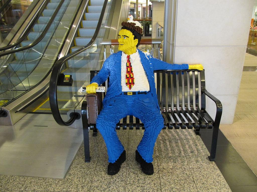 Lego businessman on bench